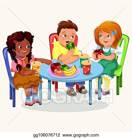 Vector Clipart Classmates Having Lunch In Dining Room Vector Illustration Gg106076712 Gograph