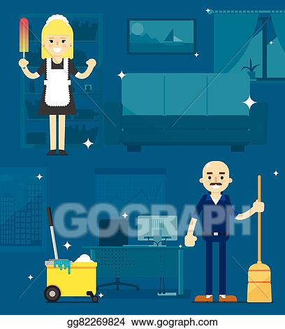 Vector Art Cleaners On The Office Background Eps Clipart