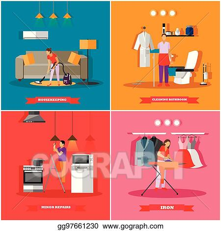 EPS Vector - Cleaning and home service concept vector