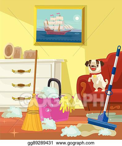 Cleaning Banner Living Room Vector Flat Cartoon Illustration