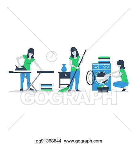 Vector Illustration Cleaning House Services Woman Ironing Stock