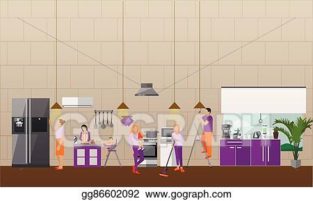 Eps Vector Cleaning Service Concept Vector Banner People Clean