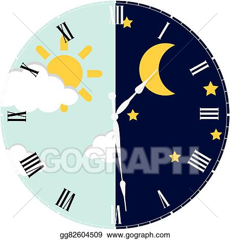Vector Stock Clock Day And Night Concept Clipart Illustration