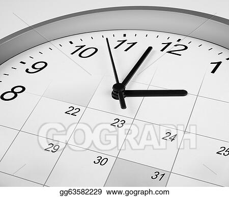 Stock Photography - Clock face and calendar  time management concept