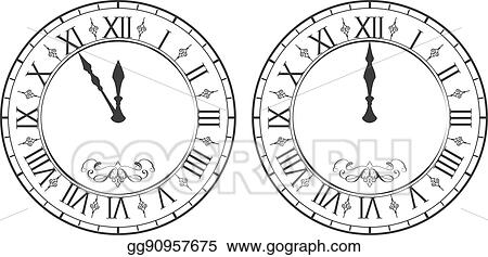 clock with roman numerals new year midnight