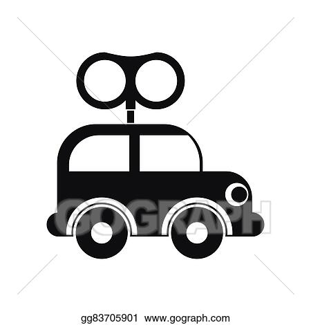 Eps Illustration Clockwork Toy Car Icon Vector Clipart