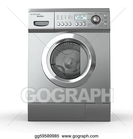 washing machine clipart black and white. stock illustration - closed washing machine on white background. 3d. clipart drawing gg59589985 black and