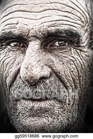 stock photo closeup portrait of old man wrinkled elderly skin