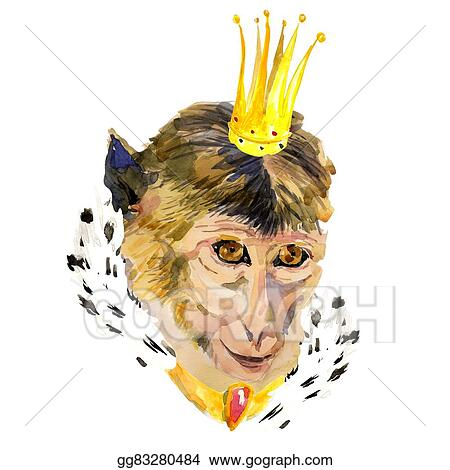 Closeup Watercolor Portrait Of Monkey With A Crown