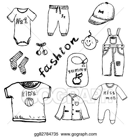Drawing Clothes For Baby Boy Set Hand Drawn Sketch Isolated On