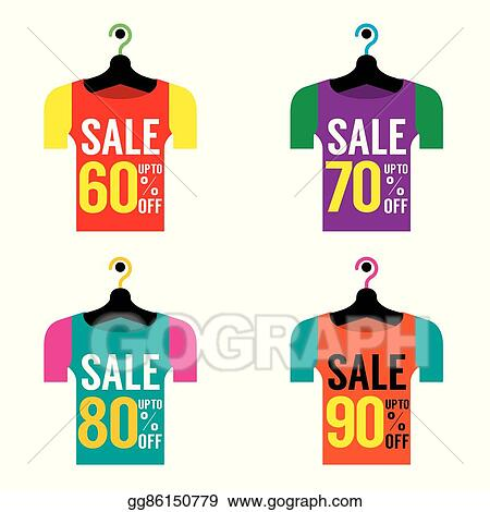 d379e310eb EPS Vector - Clothes hangers with sale tag. Stock Clipart ...