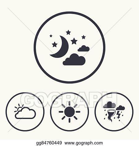 EPS Vector - Cloud and sun icon  storm symbol  moon and
