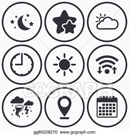 Eps Vector Cloud And Sun Icon Storm Symbol Moon And Stars Stock