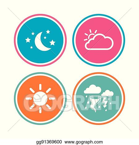 Vector Illustration Cloud And Sun Icon Storm Symbol Moon And