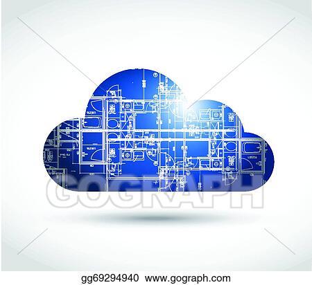 Vector art cloud computing and blueprint illustration design cloud computing and blueprint illustration design malvernweather Choice Image