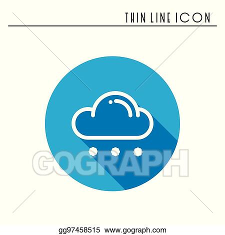 Vector Stock - Cloud, sky, rain, line simple icon  weather