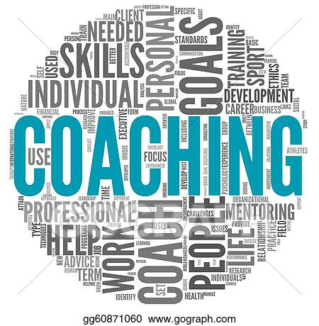 clipart - coaching concept in tag cloud. stock illustration