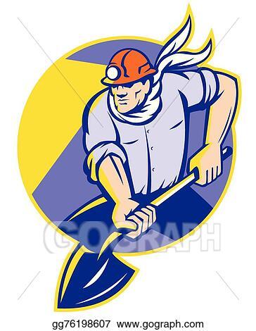 vector stock coal miner dig shovel front stock clip art rh gograph com coal mine clip art free coal miner clip art free