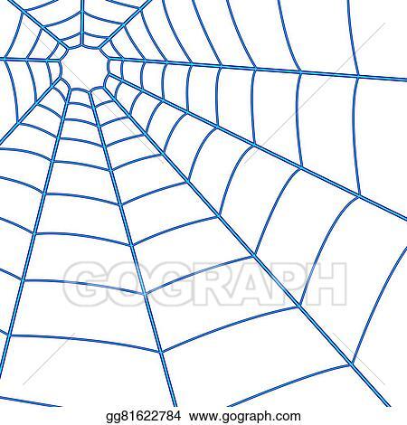 Spider web blue. Vector stock cobweb clipart
