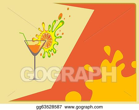 Drawings Cocktail Abstract Background Stock Illustration