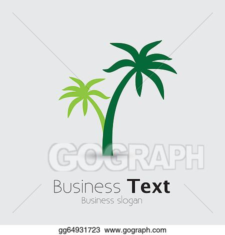 Clip Art Vector Coconut Palm Tree Icons Or Symbols Of Travel