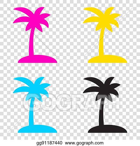 Eps Vector Coconut Palm Tree Sign Cmyk Icons On Transparent
