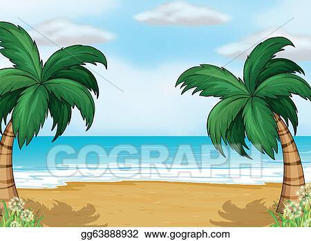 vector art coconut trees in the seashore clipart drawing rh gograph com seashore images clipart seashore clipart free
