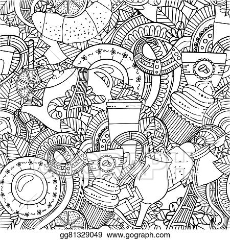Seamless Zentangle Pattern Can Be Used For Menu Wallpaper Fills Coloring Books And Pages Kids Adults Black White