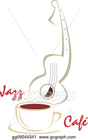 Vector Illustration - Coffee cup & guitar music  EPS Clipart