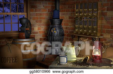 Stock Illustration Coffee Factory Clipart Drawing