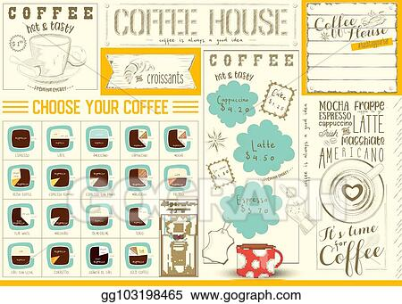 Clip Art Vector Coffee Menu Placemat Template Stock Eps