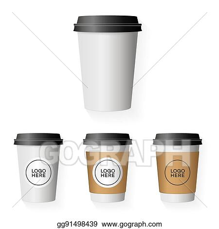 Coffee Paper Cup Template Set With Place Your Logo Isolated On Background Use For Corporate Identity Design Brand Shop House