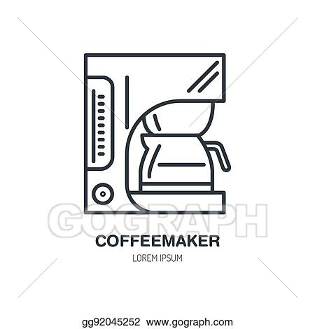 Vector Stock Coffeemaker Coffe Machine Vector Line Icon Barista