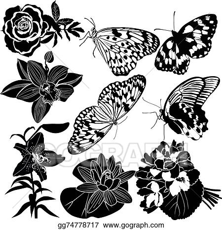d8c30824a Vector Clipart - Collection butterfly flower. Vector Illustration ...