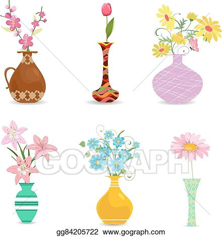 Vector Clipart Collection Decorative Vases With Flowers For Your