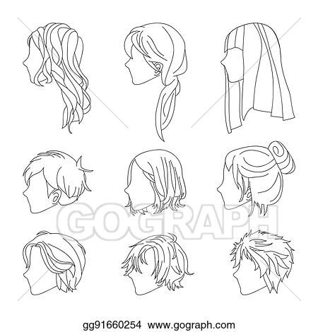 Collection Hairstyle Side View For Man And Woman Hair Drawing Set