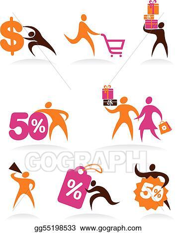 e8ecf2f3da6a Clip Art Vector - Collection of abstract people logos - 6. Stock EPS ...