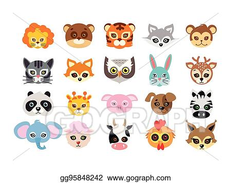 Vector Art Collection Of Different Animal Masks On Faces Clipart