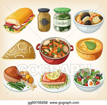 Stock Illustration - Collection of french meals. Clip Art ...