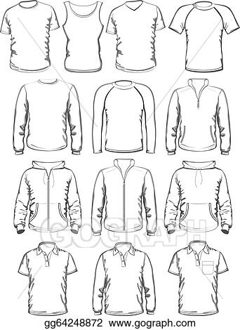 vector stock collection of men clothes outline templates clipart
