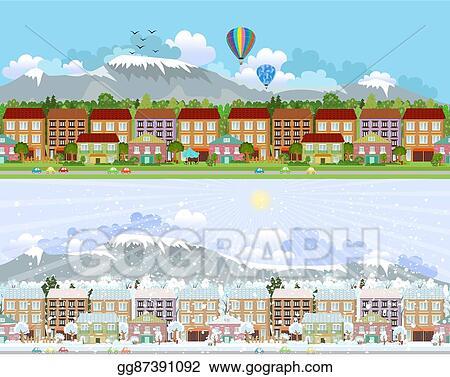 Mountain Town Clip Art