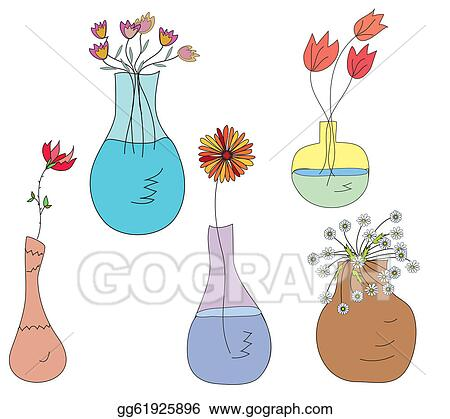 Stock Illustration Collection Of Vases With Flowers Clip Art