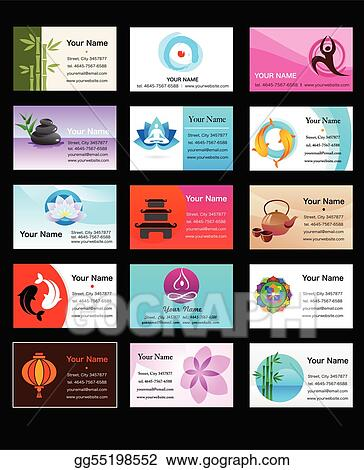 Vector illustration collection of yoga and zen business cards eps collection of yoga and zen business cards colourmoves