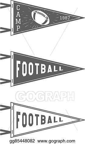 University USA Sport Flag Isolated Training Camp Emblem Soccer Label Element Monochrome Design Template Vector Sign College Football Pennant