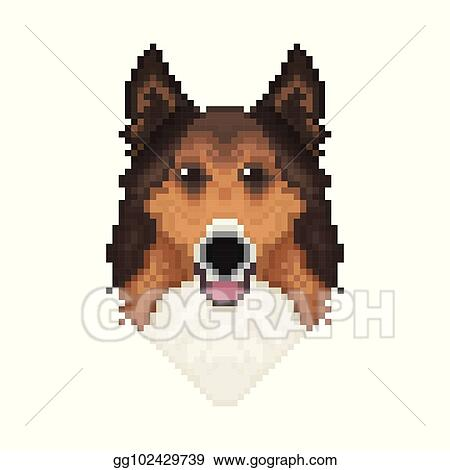 Vector Illustration Collie Dog Head In Pixel Art Style
