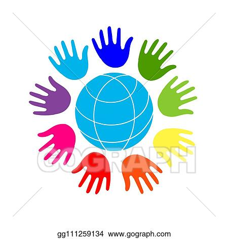 Vector Clipart Color Hands Surrounding The Earth Globe Unity World Peace Isolated On White Background Vector Illustration Gg111259134 Gograph