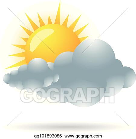 vector illustration color icon forecast partly cloudy stock rh gograph com sunny partly cloudy clipart partly cloudy weather clipart