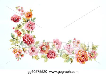 Drawing , Color illustration of flowers in watercolor