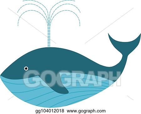Color Image Of A Blue Whale In Cardboard Style On White Background Isolated Animal Vector Ilration
