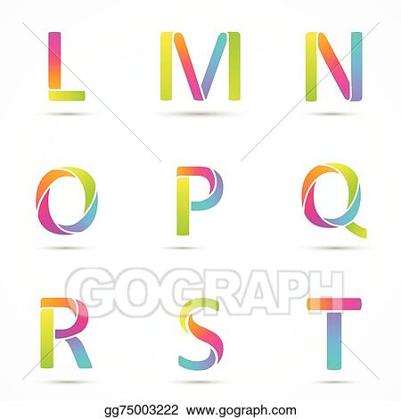 Vector Illustration Color Logo Letters L M N O P Q R S T